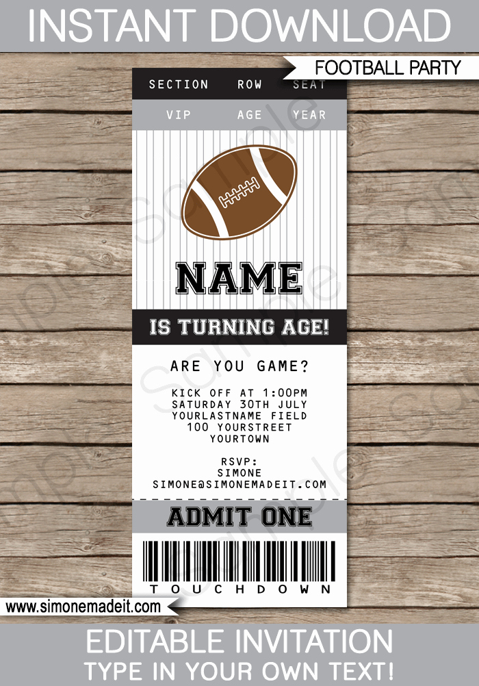 Football Ticket Invitation Template Free Best Of Black and Gray Silver Football Party Ticket Invitation