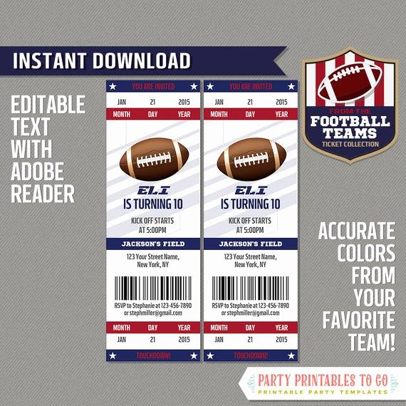 Football Ticket Invitation Template Free Elegant Football Ticket Invitation Template Blue and Red Instant