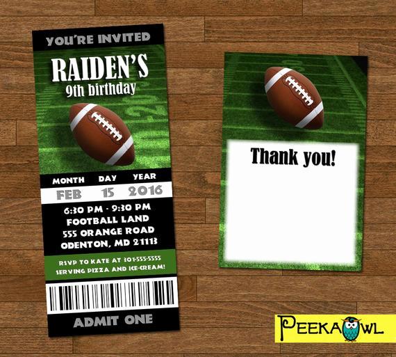 Football Ticket Invitation Template Free Elegant Printable Boys Football Invitation Ticket Boys Football