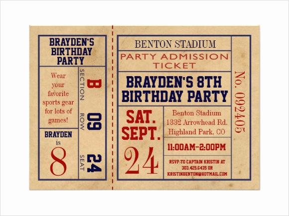 Football Ticket Invitation Template Free Inspirational 25 Sample Ticket Invitations Psd Ai Word