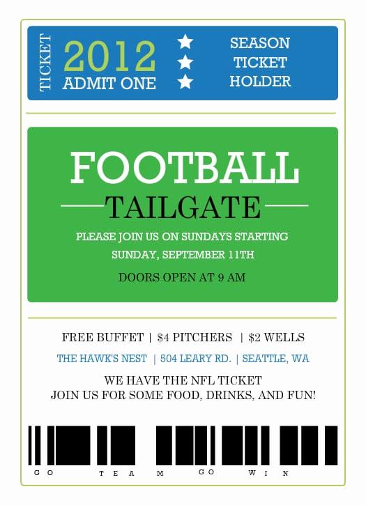 Football Ticket Invitation Template Free Inspirational Printable Ticket Invitation Template