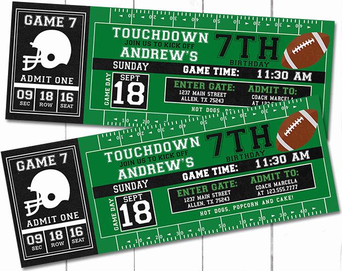 Football Ticket Invitation Template Free Luxury Football Party Invitations