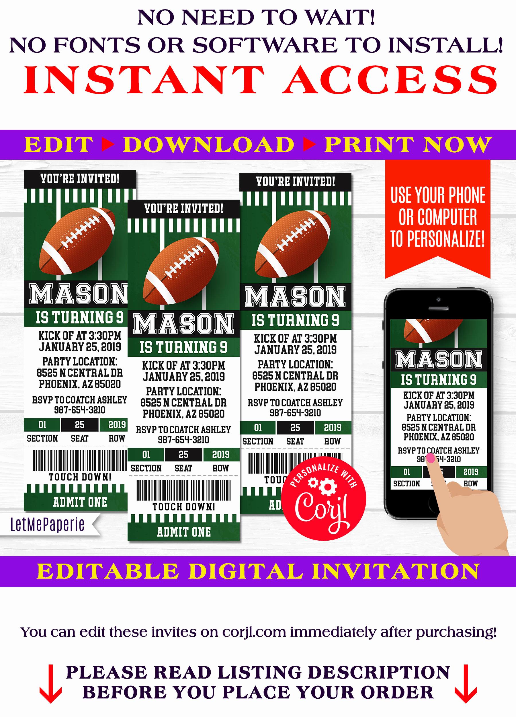 Football Ticket Invitation Template Free Luxury Football Ticket Invitation Template Editable Football