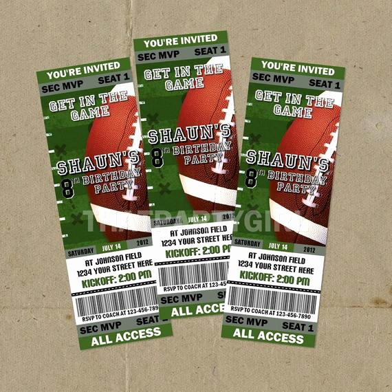 Football Ticket Template Invitation Awesome 12 Football Birthday Party Ticket Style Invitations