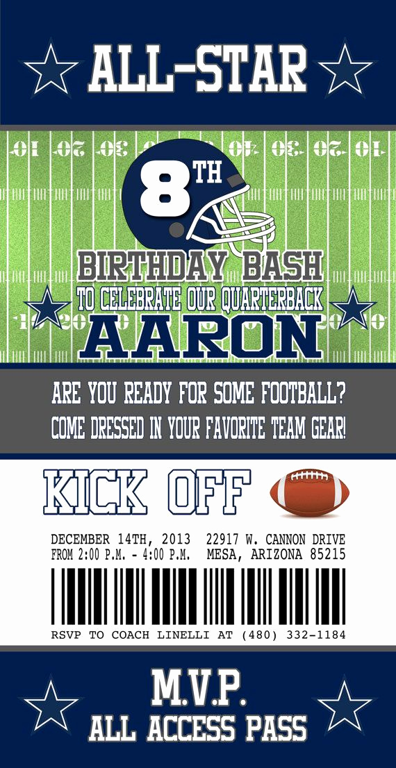 Football Ticket Template Invitation Beautiful Dallas Cowboys Inspired Football Ticket Birthday