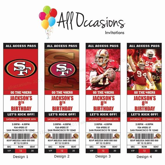 Football Ticket Template Invitation Beautiful Personalised Custom Nfl Football San Francisco 49ers