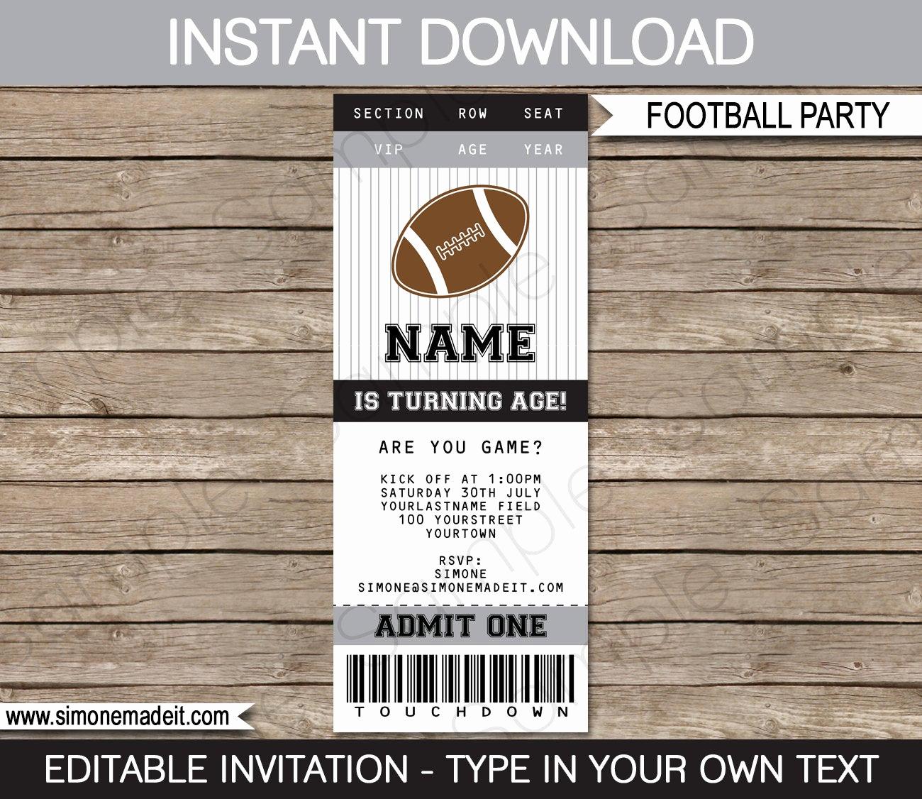 Football Ticket Template Invitation Best Of Football Ticket Invitation Template Black Silver Gray