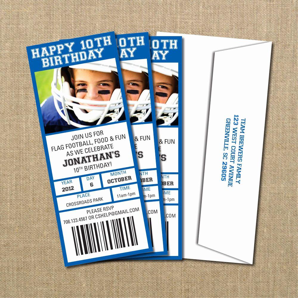 Football Ticket Template Invitation Elegant Cody S 30th Football Birthday Game Ticket Invitation by