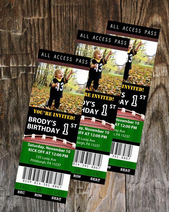 Football Ticket Template Invitation Elegant Football Ticket Birthday Invitation Printable