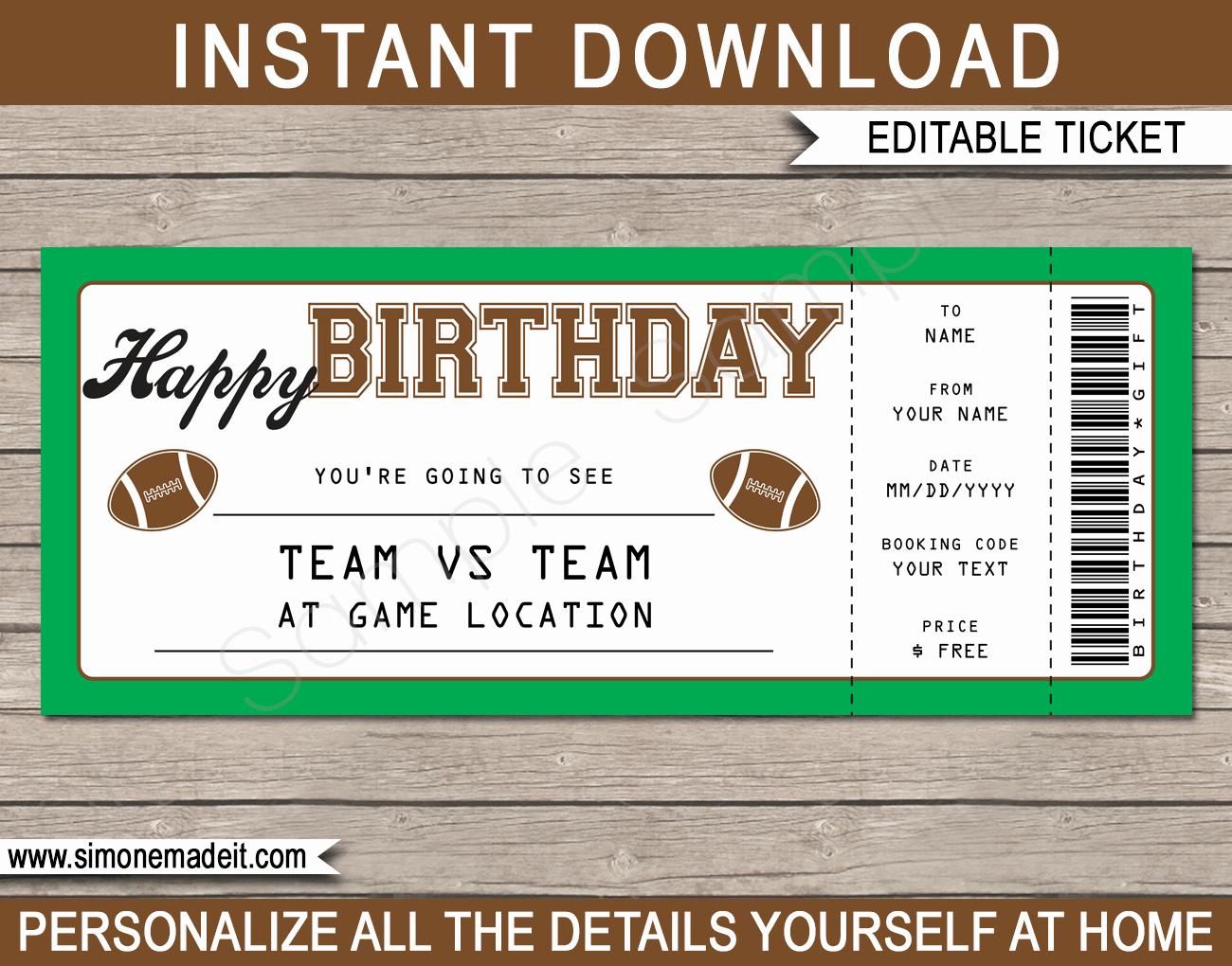 Football Ticket Template Invitation Fresh Football Game Birthday Gift Ticket