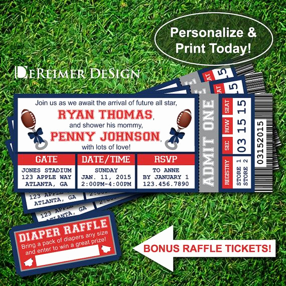 Football Ticket Template Invitation Fresh Sports Ticket Baby Boy Shower Invitation New England