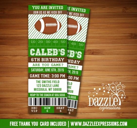 Football Ticket Template Invitation Inspirational Football Ticket Birthday Invitations Cobypic