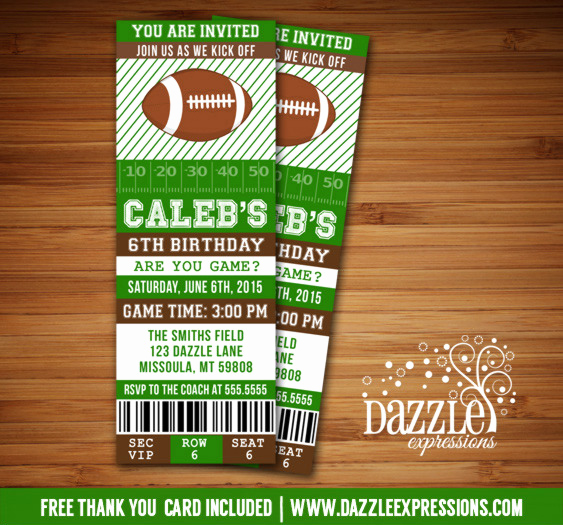 Football Ticket Template Invitation Lovely Printable Football Ticket Birthday Invitation Super Bowl