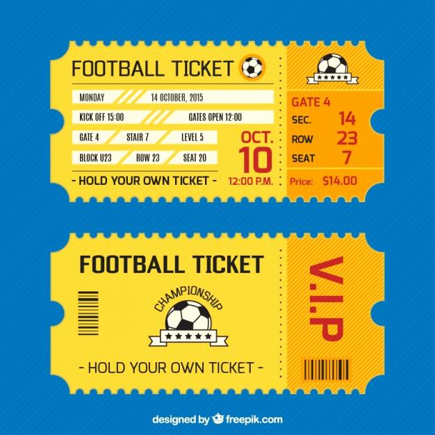 Football Ticket Template Invitation Luxury Football Ticket Card Vector