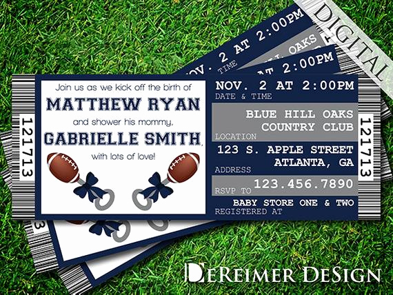 Football Ticket Template Invitation Luxury Sports Ticket Baby Boy Shower Invitation Cowboys Dallas