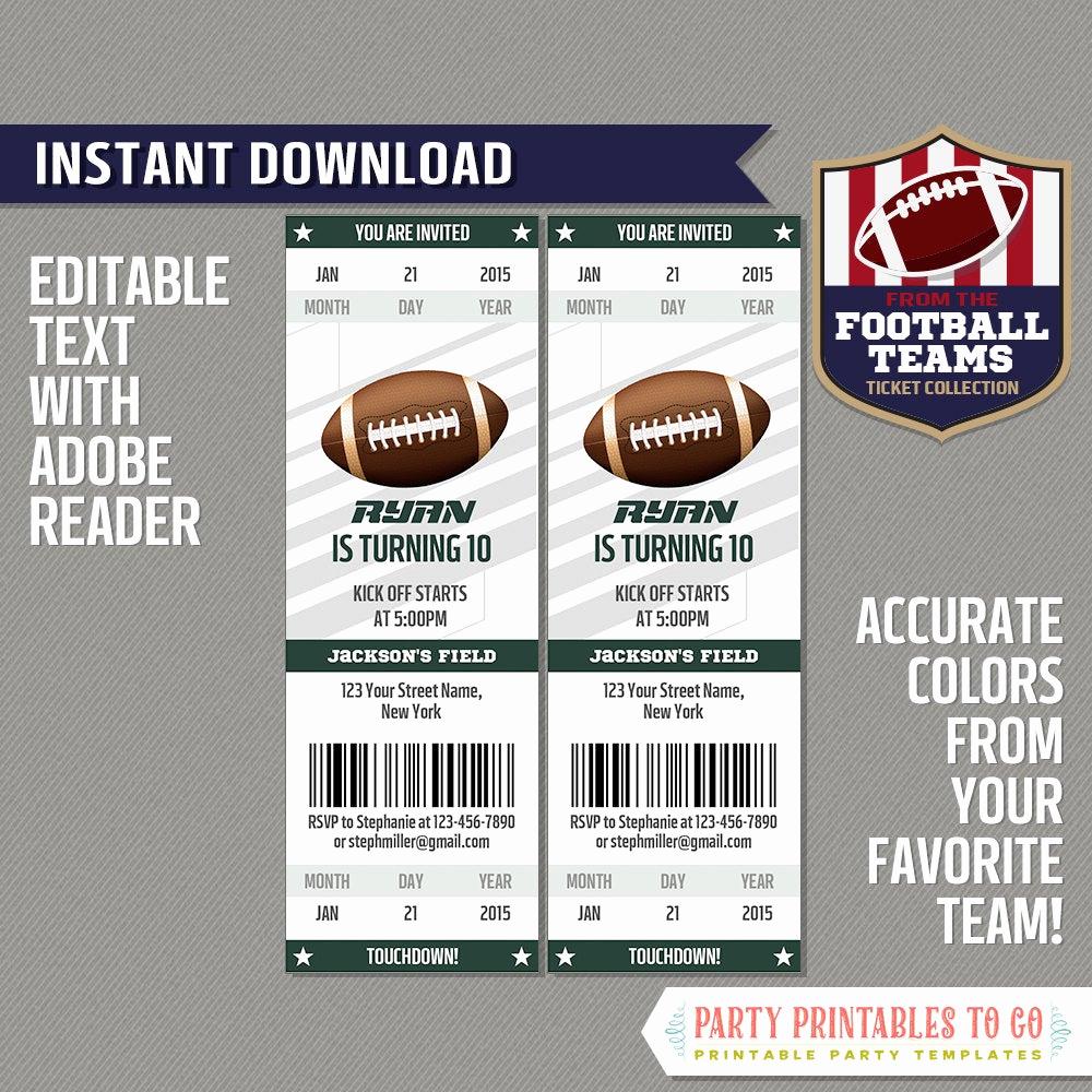 Football Ticket Template Invitation New Football Ticket Invitation Template Green and White