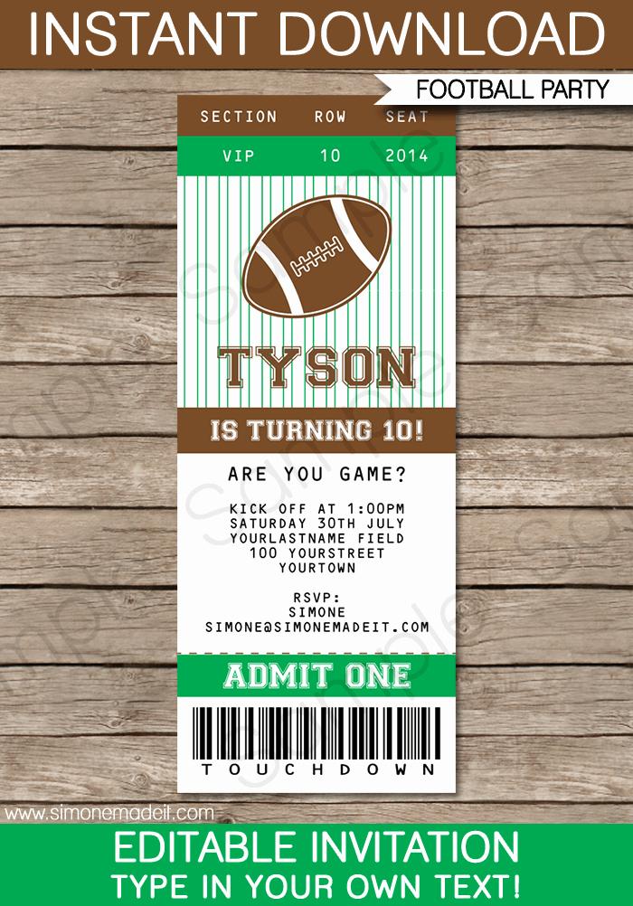 printable football ticket invitation