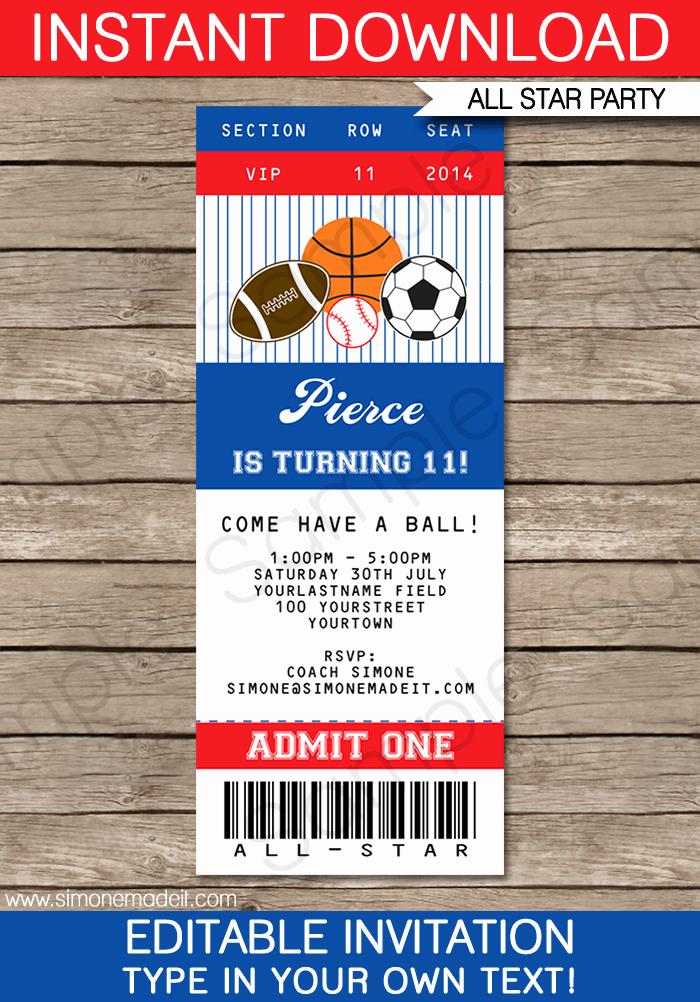 Football Ticket Template Invitation Unique All Star Sports Ticket Invitations