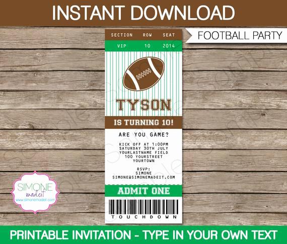 Football Ticket Template Invitation Unique Football Ticket Invitation Template Birthday Party