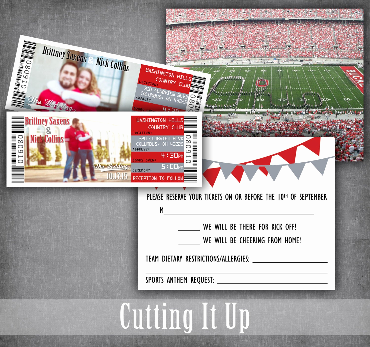 Football Ticket Template Invitation Unique the Ohio State Football Wedding Ticket Invitations Sport
