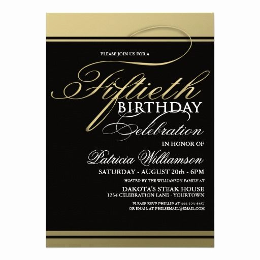 Formal Birthday Invitation Wording Elegant Gold formal 50th Birthday Invitations