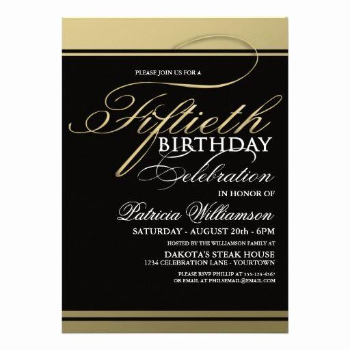 Formal Birthday Invitation Wording Elegant Gold formal 50th Birthday Invitations