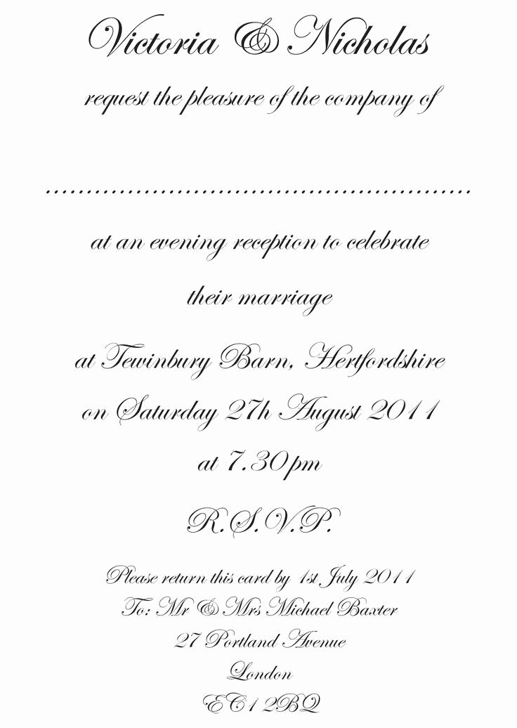 Formal Birthday Invitation Wording Luxury formal Wedding Invitation Wording