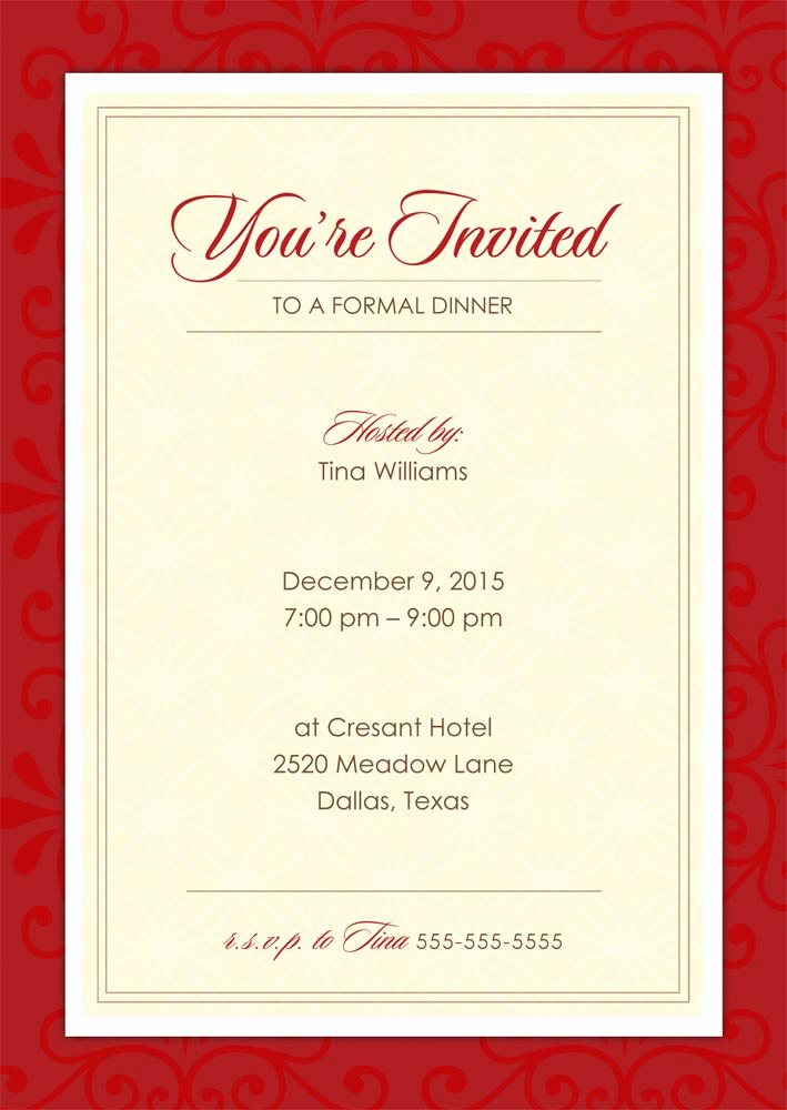 Formal Dinner Invitation Templates New formal Dinner Party Holiday Party From Cardsdirect