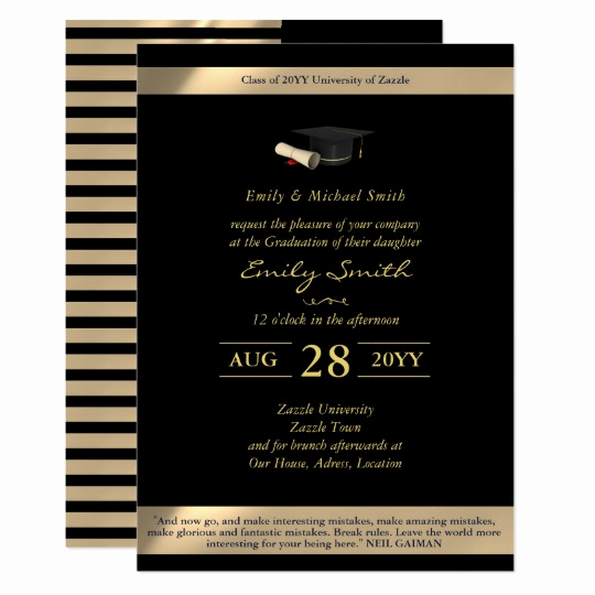 Formal Graduation Invitation Wording Best Of Black Gold Graduation Invitations formal Elegant