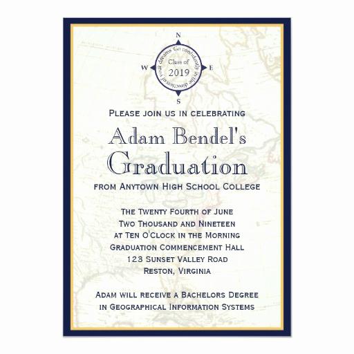 Formal Graduation Invitation Wording Elegant formal Blue Pass Map Graduation Announcements