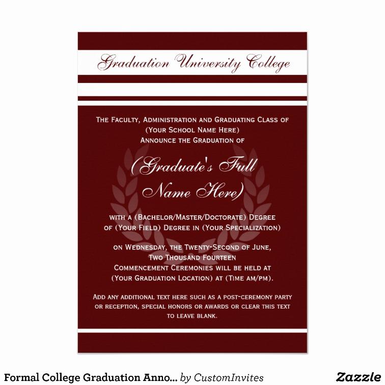 Formal Graduation Invitation Wording Elegant formal College Graduation Announcements Maroon