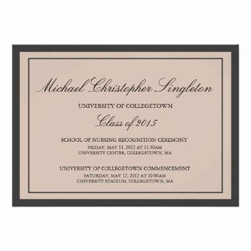 "Formal Graduation Invitation Wording Lovely Traditional formal University Graduation events 5"" X 7"