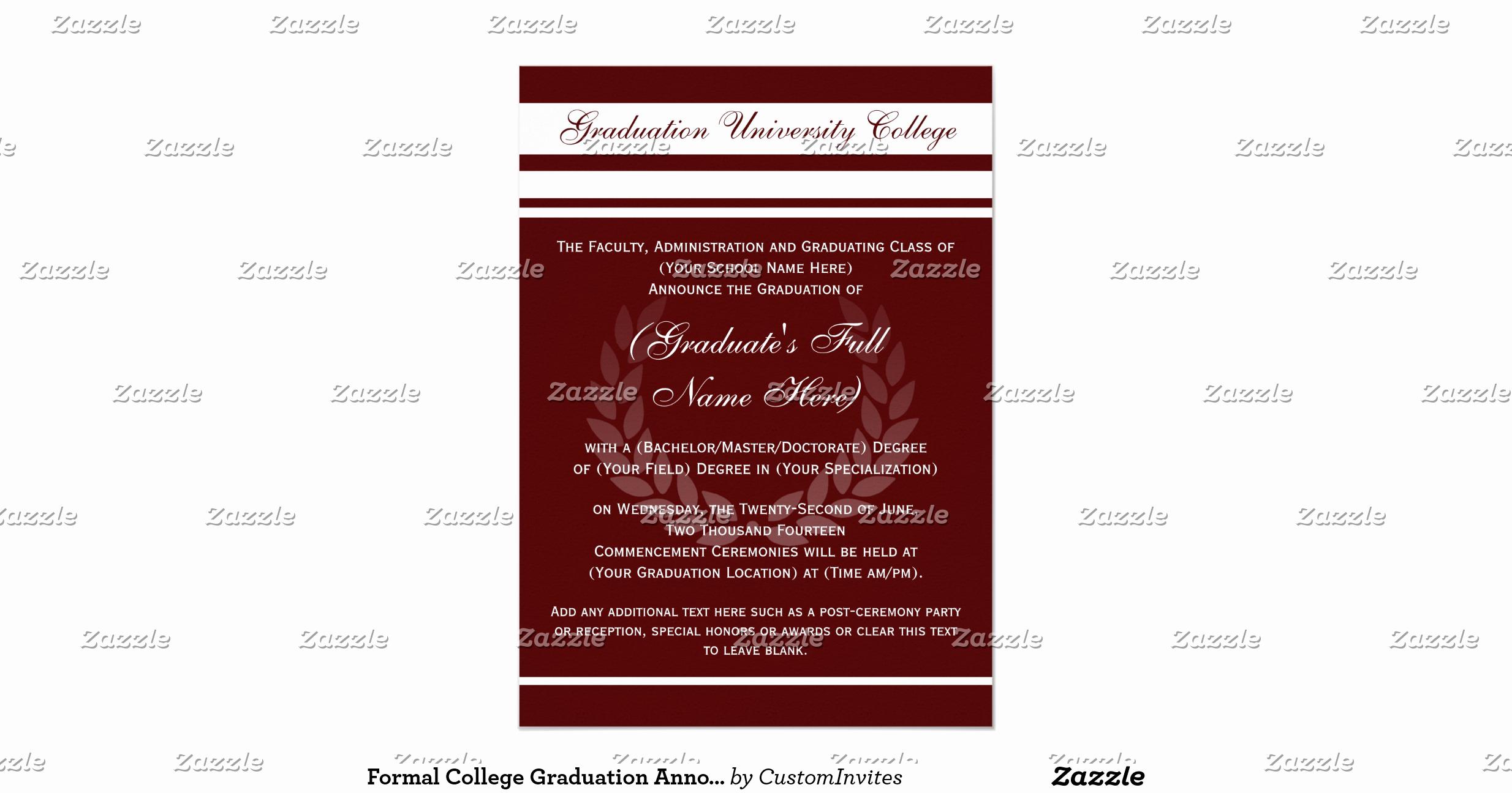 Formal Graduation Invitation Wording Luxury formal College Graduation Announcements Maroon