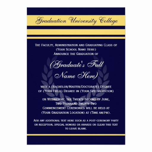 "Formal Graduation Invitation Wording Unique formal College Graduation Announcements Blue 5"" X 7"