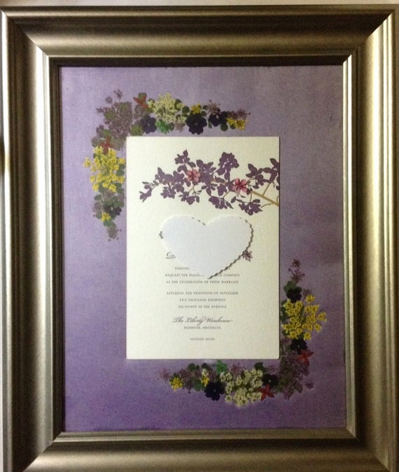 Framed Wedding Invitation Keepsake Best Of Wedding Invitation Pressed Flower Framed Wedding Keepsake