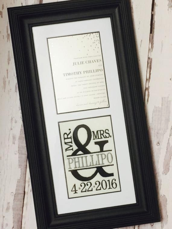 Framed Wedding Invitation Keepsake Elegant Custom Monogrammed Framed Wedding Invitation Keepsake