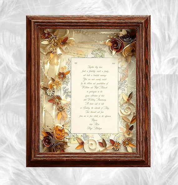 Framed Wedding Invitation Keepsake Elegant Framed Wedding Invitation Fall Wedding Custom Wedding Frame