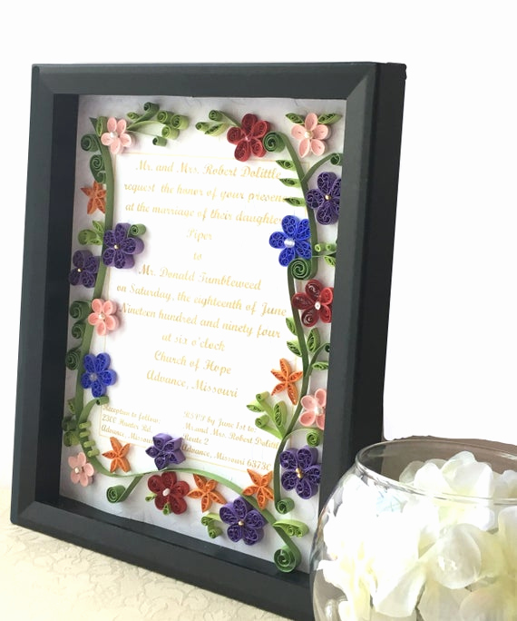 Framed Wedding Invitation Keepsake Elegant Wedding Invitation Keepsake Framed Shadowbox Birth