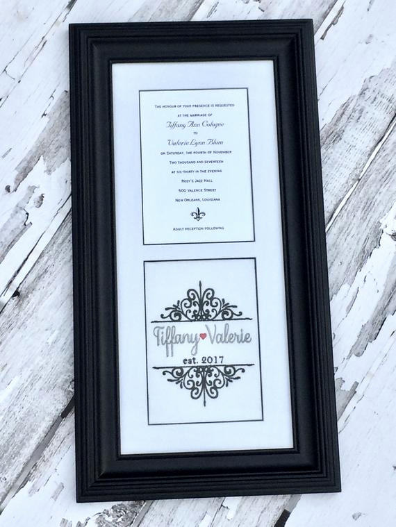 Framed Wedding Invitation Keepsake Fresh Custom Monogrammed Framed Wedding Invitation Keepsake