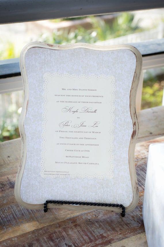 Framed Wedding Invitation Keepsake Inspirational Keepsake Wedding Invitation Plaque