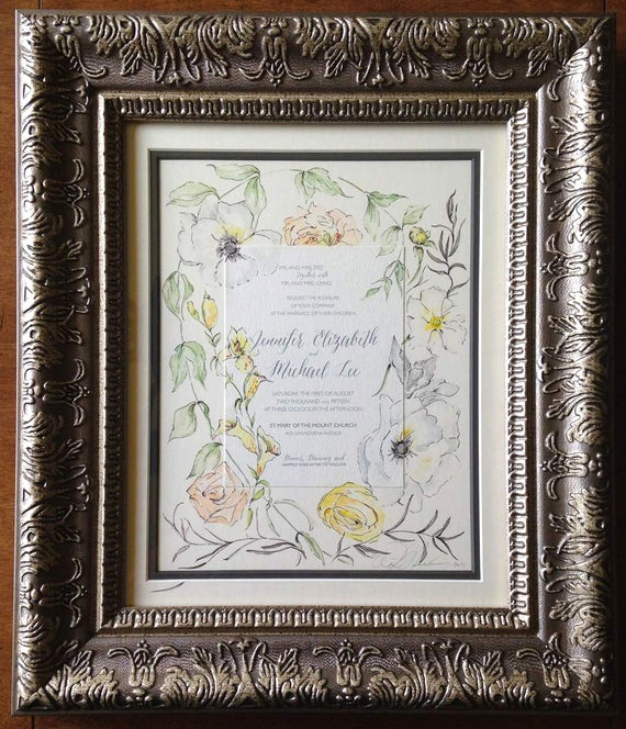 Framed Wedding Invitation Keepsake Unique Custom Wedding Painting with the Invitation by