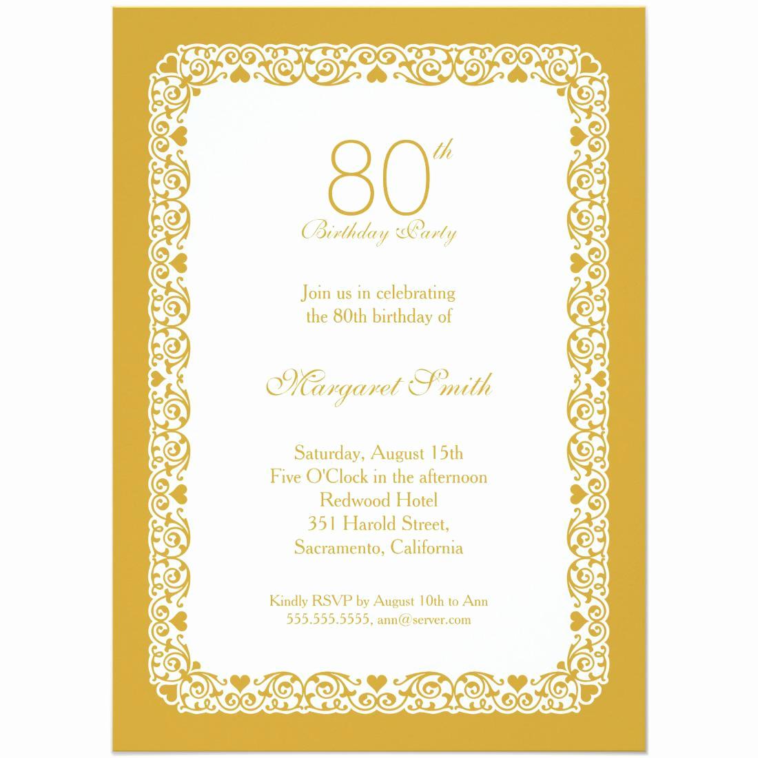 Free Anniversary Invitation Templates Elegant 15 Sample 80th Birthday Invitations Templates Ideas