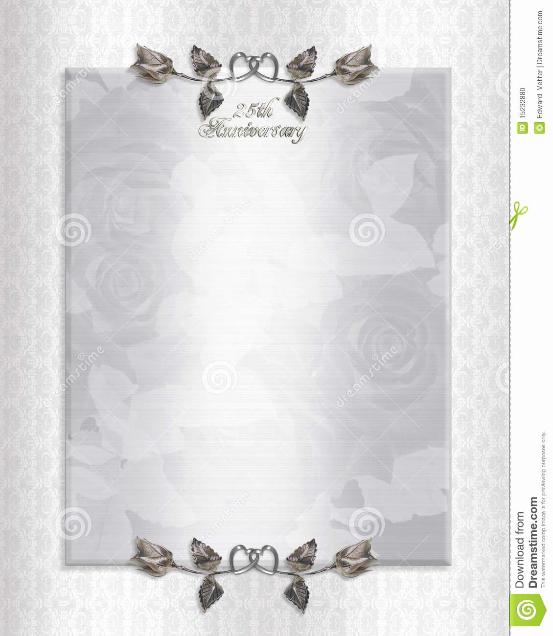 Free Anniversary Invitation Templates Lovely 25th Wedding Anniversary Invitations Templates