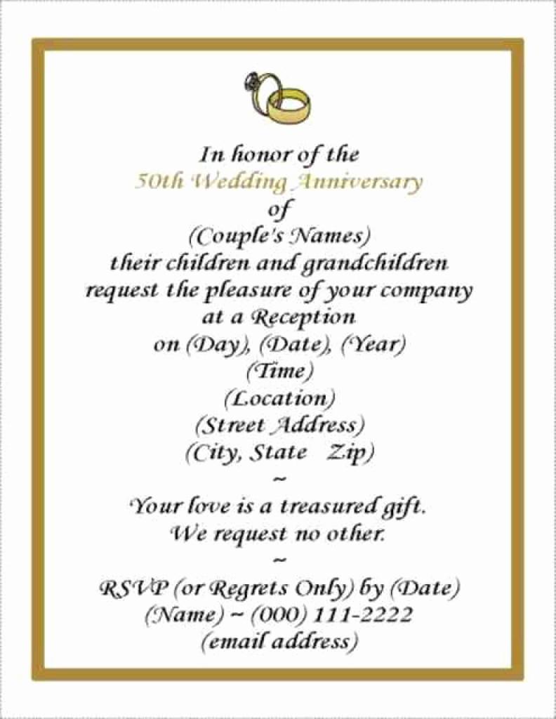 Free Anniversary Invitation Templates New Free Wedding Anniversary Invitation Template
