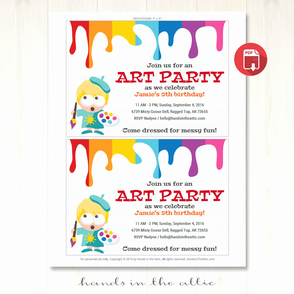 Free Art Party Invitation Templates Awesome Art Party Invitation Printable Template
