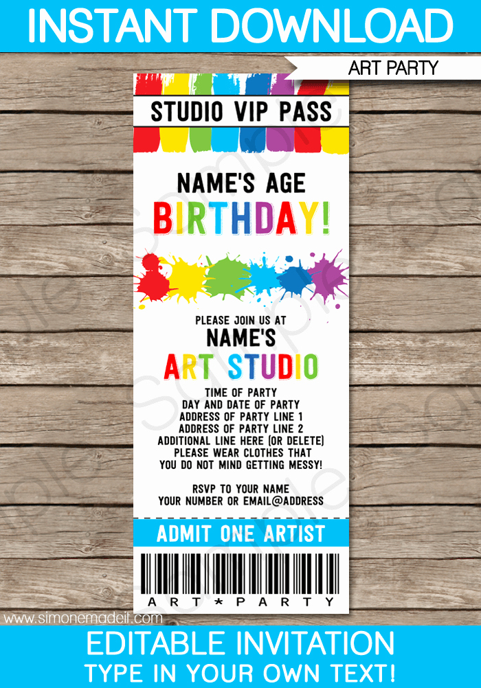 Free Art Party Invitation Templates Beautiful Art Party Ticket Invitations Paint Party
