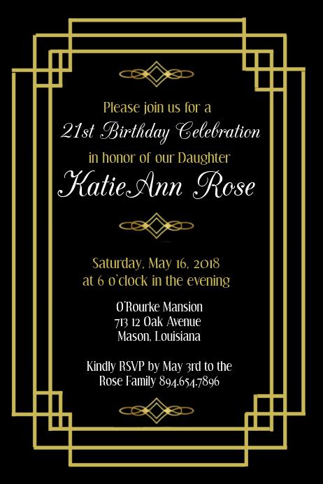 Free Art Party Invitation Templates Inspirational Art Deco Birthday Invitation Template