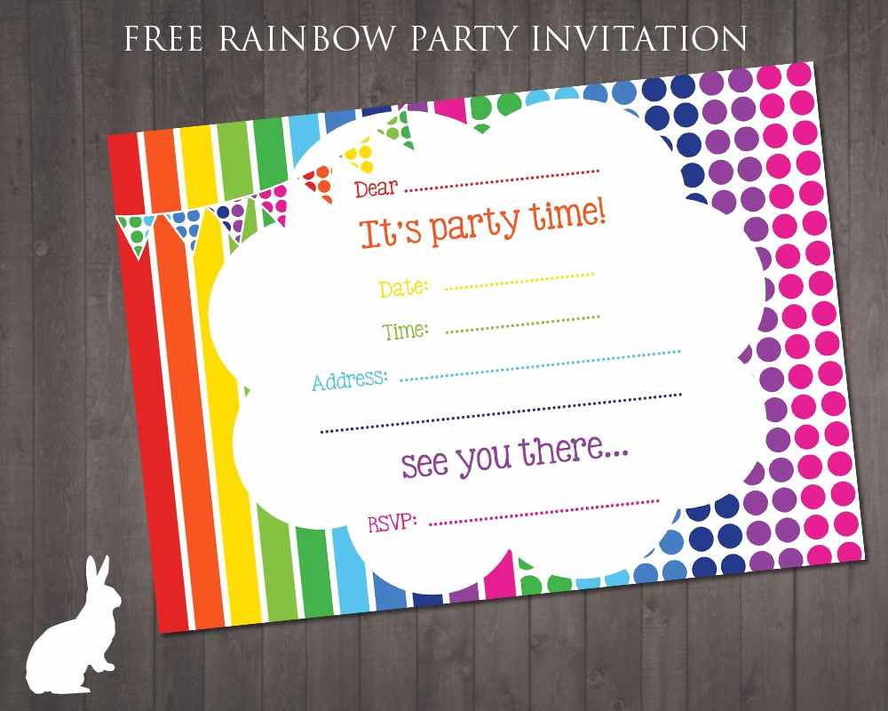 Free Art Party Invitation Templates Inspirational Free Rainbow Party Invitation