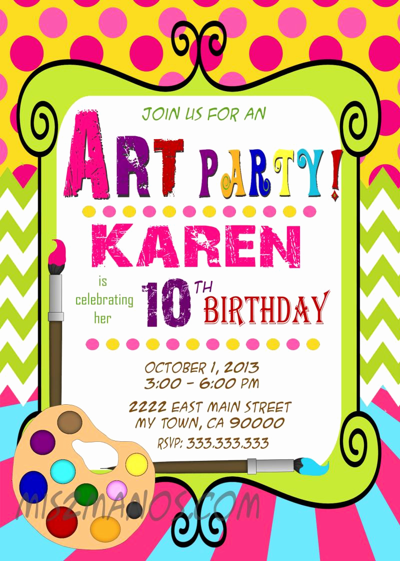 Free Art Party Invitation Templates Lovely Art Party Invitation Art Birthday Paint