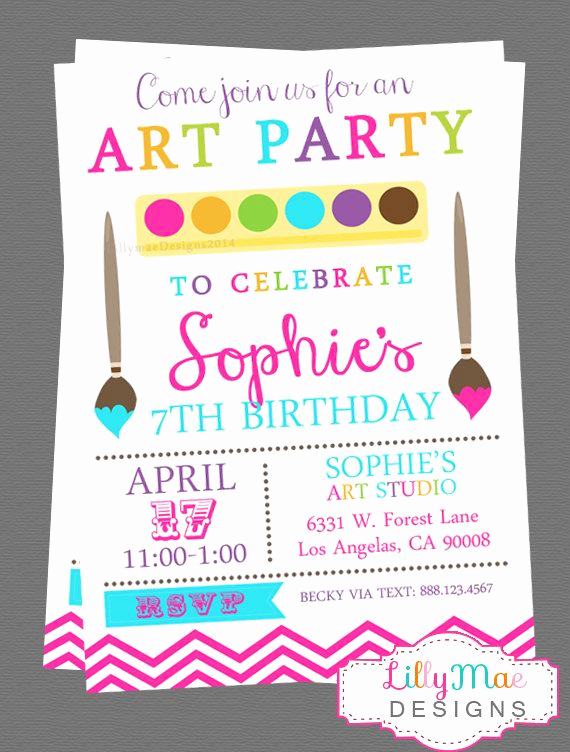 Free Art Party Invitation Templates Lovely Art Party Invitation Paint Party Invitation Craft Party